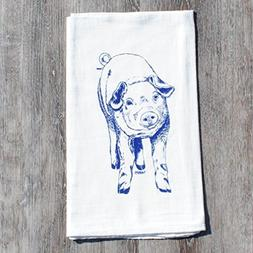 "Tea Towel 26"" x 25"" Flour Sack 100% Cotton Screen Printed Bl"