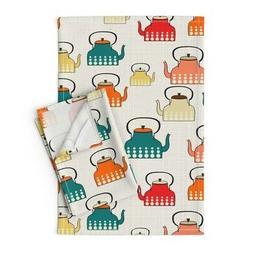 Teapots Kitchen Retro Modern Linen Cotton Tea Towels by Roos