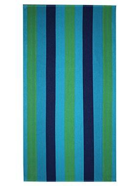 Cotton Craft - 2 Pack Terry Beach Towel 30x60 - Cabana Strip