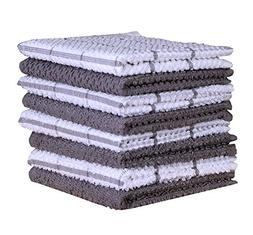 Terry Cotton Dishcloth Set of 8  , Light Gray , 100 % Cotton