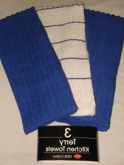 Ritz Terry Cotton Kitchen Towels, Cobalt Blue Vertical Ribbe