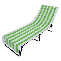 J&M Home Fashions Terry Cotton Stripe Beach Lounge Chair Tow