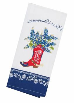 Texas BLUEBONNETS Western Boot Print KITCHEN Dish Tea TOWEL