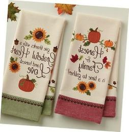 ** THANKFUL HARVEST Kitchen Towels *SET of 2* Printed-Cotton
