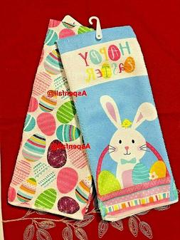 Easter Bunny & Easter Eggs Decorative Kitchen Towels  (2 NWT