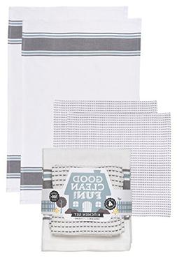 Now Designs Towel and Dishcloth Kitchen Set, Charcoal Grey