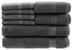 8 Piece Towel Set, 100% Ring Spun Genuine Cotton, Absorbency