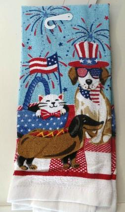 TOWELS..KITCHEN / HAND ...FOURTH OF JULY  ..CATS AND DOGS