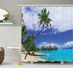 Ambesonne Tropical Decor Shower Curtain Set, Over-Water Bung