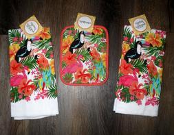 Tropical Flamingo Parrot Pot Holder & 2 Kitchen Towels Set K