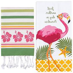 Tropical Kitchen Towel Set - Flamingo And Striped Hibiscus D