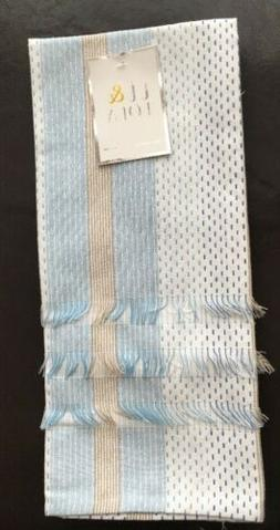 TT & LOLA   Tea KITCHEN  TOWELS  Blue/Tan Striped, NWT