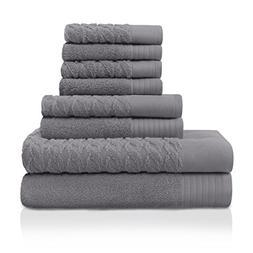 Superior 100% Turkish Cotton 8-Piece Towel Set, Dense Cordag