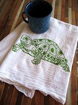 Oh, Little Rabbit Turtle Flour Sack Screen Printed Kitchen D