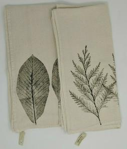 Two Kitchen Towels Leaf Design 100% Cotton Hand Crafted Bryn