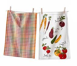 Tag Veggie Market and Plaid Cotton Dishtowels, Set of 2