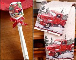 vintage country set of 2 red truck