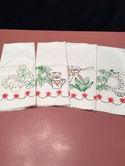 Vintage Dish Towels Set 4 Ready To Embroider Off White