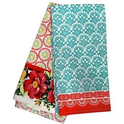 Pioneer Woman Vintage Floral Geo Kitchen Towels Set of 2 Mul