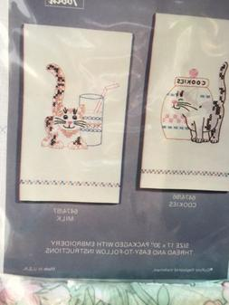 Vintage PROGRESS PAIR OF STAMPED KITCHEN TOWELS EMBROIDERY K
