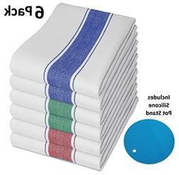 Vintage Tea Towels 6pk With Loop  - Longer Lasting, Super Ab
