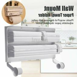 Wall Mount Paper Towel Holder Cling Film Spice Rack Kitchen