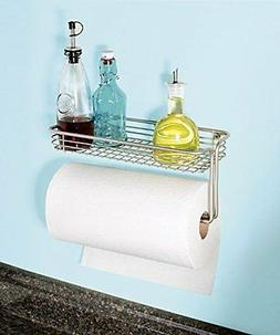 Wall Mount Paper Towel Holder Shelf Storage Kitchen Laundry