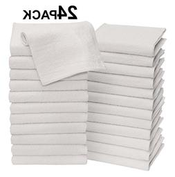 Cotton Craft - 24 Pack Wash Cloth Set 12x12 - White - Pure 1