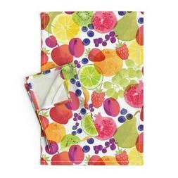 Watercolor Kitchen Fruits And Linen Cotton Tea Towels by Roo
