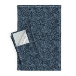 Waves Royal Blue Navy Ocean Classic Linen Cotton Tea Towels