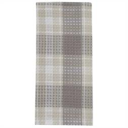 Weathered Oak Dish Towel Taupe Tan Ivory Plaid Farmhouse Kit