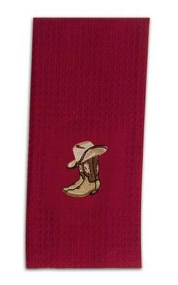 WESTERN Embroidered COWBOY HAT and BOOTS Deep Red Waffle KIT