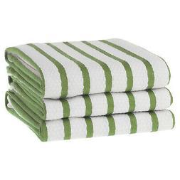 KAF Home Whim Casserole Towels Basket Weave Set Of 3, Green