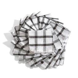White Brown Cotton Checkered Pattern Kitchen Towels Dish Clo