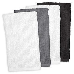 CC Home Furnishings Set of 4 White, Grey and Black Bar Mop C