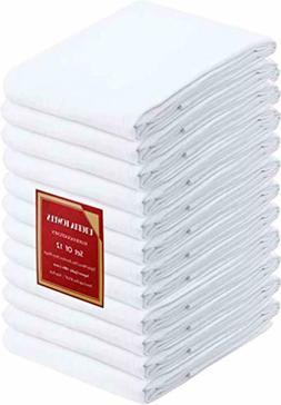 "White Cotton Dish Towels Utopia Kitchen 12 PACK 28""x28"" Flou"