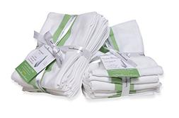 White Cotton Kitchen Dish Towels with Green Stripe in Herrin