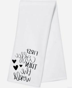 white cotton tea towels, First Coffee Then The World, Funny