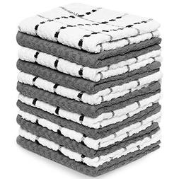 12 Pack White Gray 100% Cotton Kitchen Dish Towels Commercia