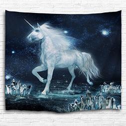 KLOLKUTTA White Unicorn Tapestry Wall Hanging, Romance Space