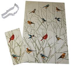 Mixed Wild Song Birds Cotton Dish Tea Towels with Cardinal C