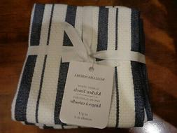 WILLIAMS SONOMA CLASSIC STRIPE NAVY KITCHEN TOWELS SET/4  NE