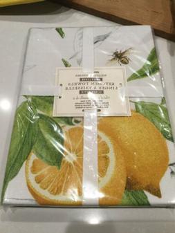 🍋 Williams-Sonoma MEYER LEMON Set/2 Kitchen Towels - NIP