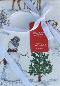 Williams-Sonoma Snowman Kitchen Towels Set/2
