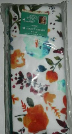 "Pioneer Woman Willow Kitchen Towels Set of 4 16"" x 28"" New"