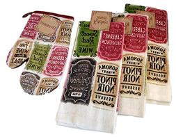 Wine Kitchen Gift Bundle - 4 Items: 3 Cotton Dish Towels and