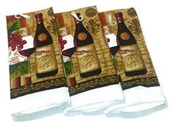 "Wine Lovers Kitchen Towels 15"" x 25"" 3 Pack"