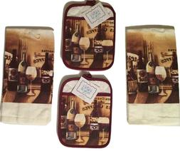 Wine Shop 4 piece kitchen towels potholders set