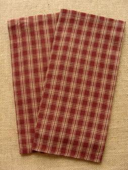 WINE STURBRIDGE DISH TOWEL PLAID COTTON PRIMITIVE COUNTRY FA