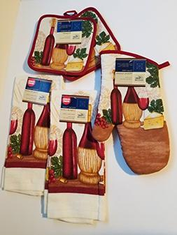 Home Collection Wine Theme 5 Piece Kitchen Linen Set Include